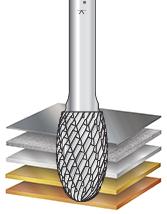 SE Burrs Solid Carbide Head Brazed into Steel Shank Oval Shape Double Cut Burr Bits