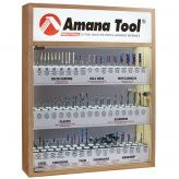 AMS-CNC-48M - Metric CNC Master Router Bit Collection, 48-Pcs with LED Illuminated, Mirrored Interior and Solid Wood Display