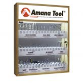 """AMS-CNC-52 - Master CNC Router Bit Collection, 52-Pcs with LED Illuminated, Mirrored Interior and Solid Wood Display, 1/4"""" Shank"""