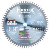 LB86401C Electro-Blu™ Carbide Tipped Prestige™ Non-Melt Plastic 8 Inch Dia x 64T M-TCG, -2 Deg, 5/8 Bore, Non-Stick Coated