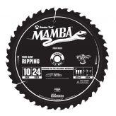 MA10024 Carbide Tipped Thin Kerf Ripping Mamba Contractor Series 10 Inch Dia x 24T, ATB+F, 20 Deg, 5/8 Bore Circular Saw Blade