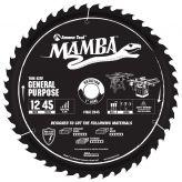 MA12045 Carbide Tipped Thin Kerf General Purpose Miter Mamba Contractor Series 12 Inch Dia x 45T, ATB+F, 15 Deg, 1 Bore Circular Saw Blade