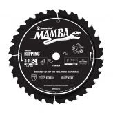 MA8024 Carbide Tipped Thin Kerf Ripping Mamba Contractor Series 8-8-1/4 Inch Dia x 24T, FT, 15 Deg, 5/8 Bore with Diamond Knockout Circular Saw Blade