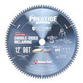 MB12960C Electro-Blu™ Carbide Tipped Prestige™ Double-Face Melamine 12 Inch Dia x 96T H-ATB, -6 Deg, 1 Inch Bore, Non-Stick Coated