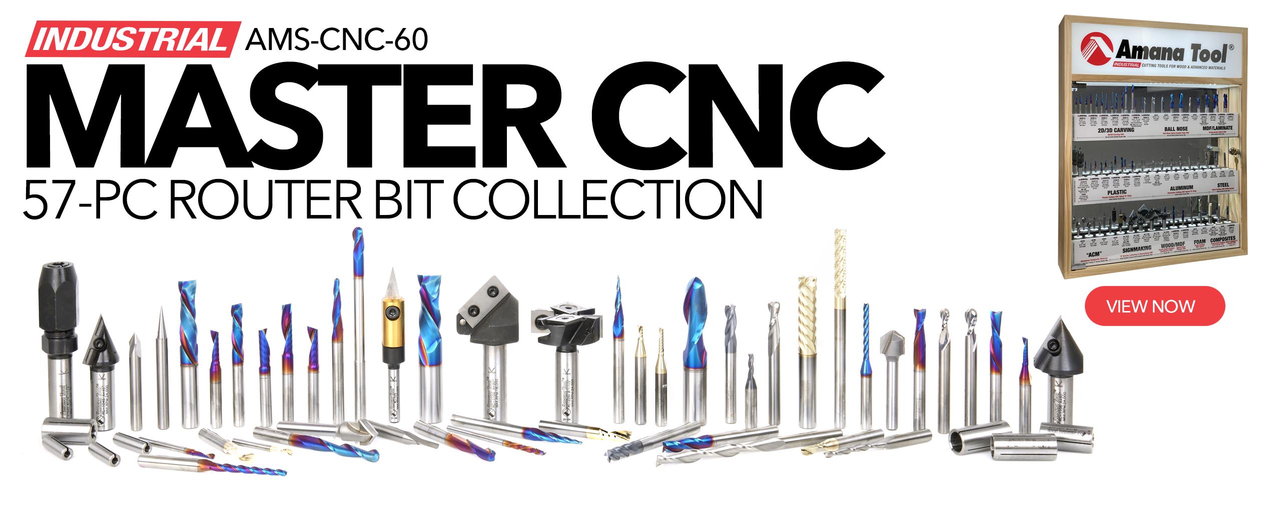 AMS-CNC-60 Master CNC Router Bit Collection, 60 PCS