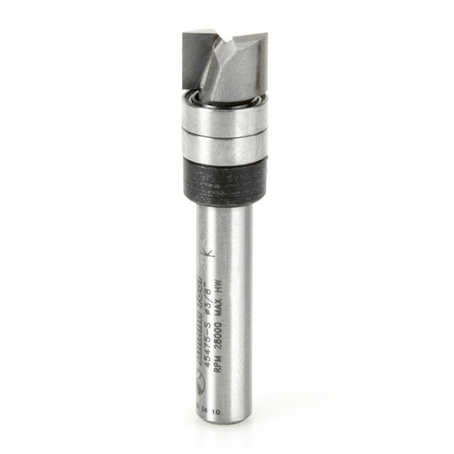 45475-S Carbide Tipped Flush Trim Plunge Template 3/8 Dia x 1/4 x 1/4 Inch Shank with 2 Upper Ball Bearings