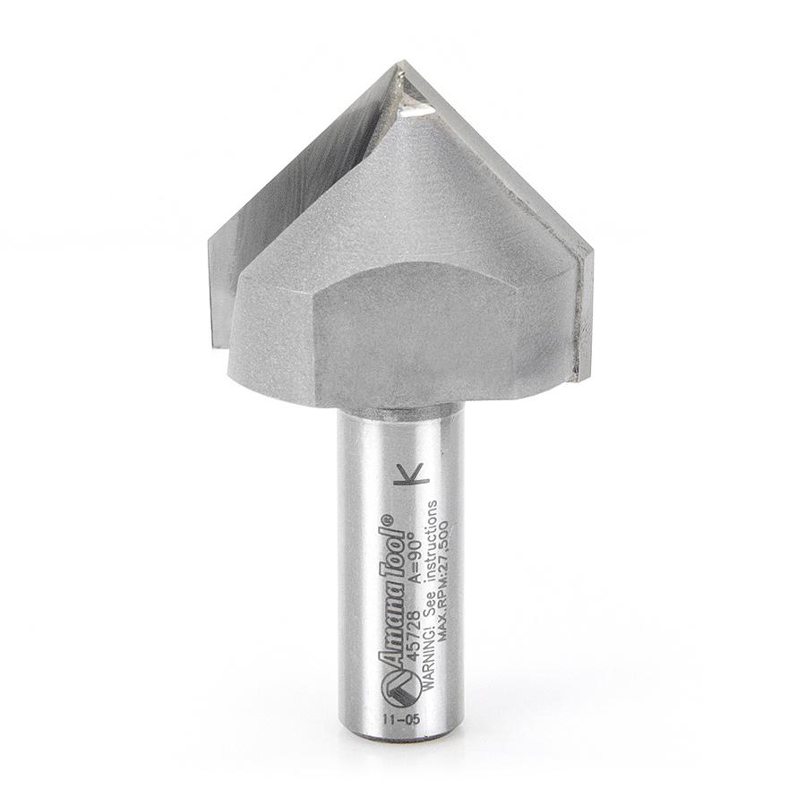 45728 Carbide Tipped V-Groove 90 Deg x 1-1/2 Dia x 3/4 Inch x 1/2 Shank