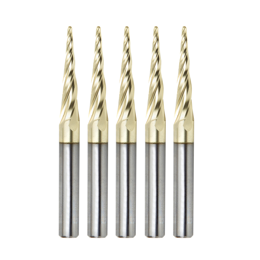 46282-5, 5-Pack CNC 2D and 3D Carving 5.4 Deg Tapered Angle Ball Tip 1/16 Dia x 1/32 Radius x 1 x 1/4 Shank x 3 Inch Long x 4 Flute Solid Carbide Up-Cut Spiral ZrN Coated Router Bits