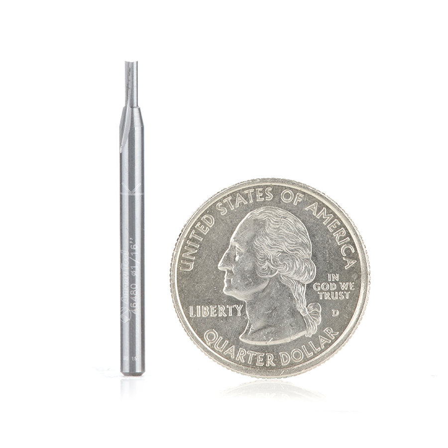 46480 Solid Carbide Straight Plunge High Production 1/16 Dia x 3/16 x 1/8 inch Shank Router Bit