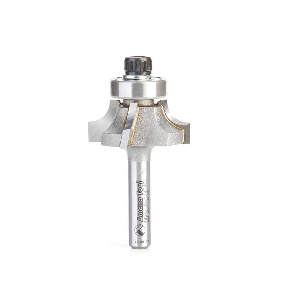 49547 Carbide Tipped 4 Flute Corner Rounding/Beading 1/4 Radius x 1-1/8 Dia x 7/16 x 1/4 Inch Shank