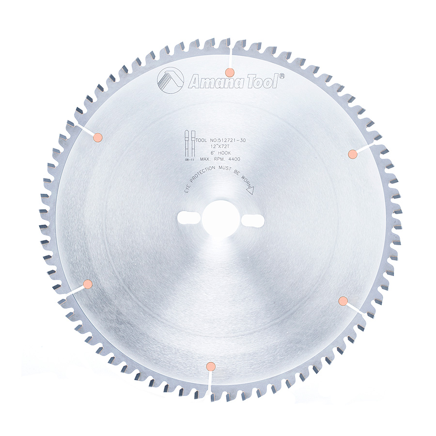 512721-30 Carbide Tipped Aluminum and Non-Ferrous Metals 12 Inch Dia x 72T TCG, -6 Deg, 30mm Bore