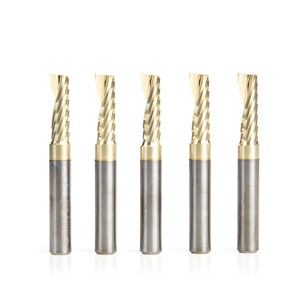 51377-Z-5 5-Pack Solid Carbide CNC Spiral 'O' Flute, Aluminum Cutting 1/4 Dia x 3/4 x 1/4 Shank Up-Cut ZrN Coated Router Bit