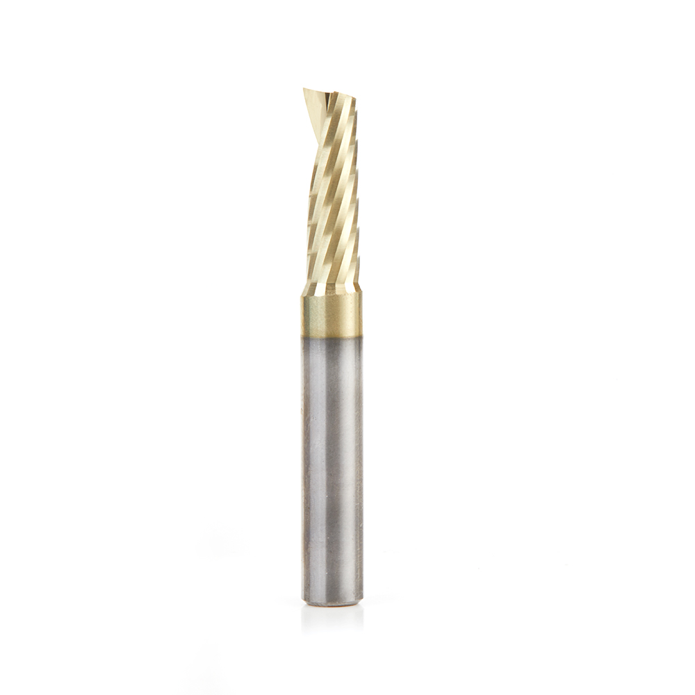 51377-Z Solid Carbide CNC Spiral 'O' Flute, Aluminum Cutting 1/4 Dia x 3/4 x 1/4 Shank Up-Cut ZrN Coated Router Bit