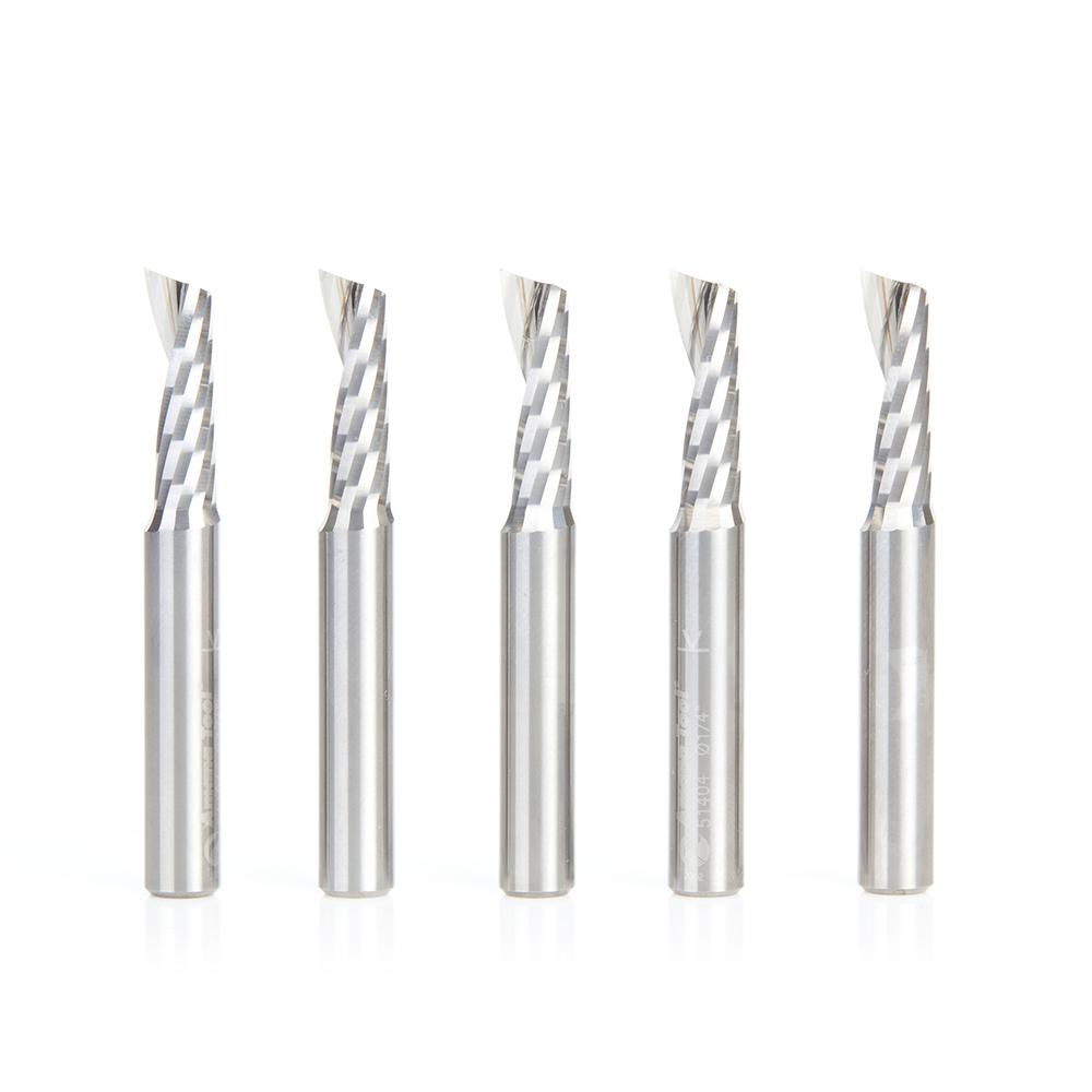 51404-5 5-Pack Solid Carbide CNC Spiral 'O' Flute, Plastic Cutting 1/4 Dia x 3/4 x 1/4 Inch Shank Up-Cut Router Bit