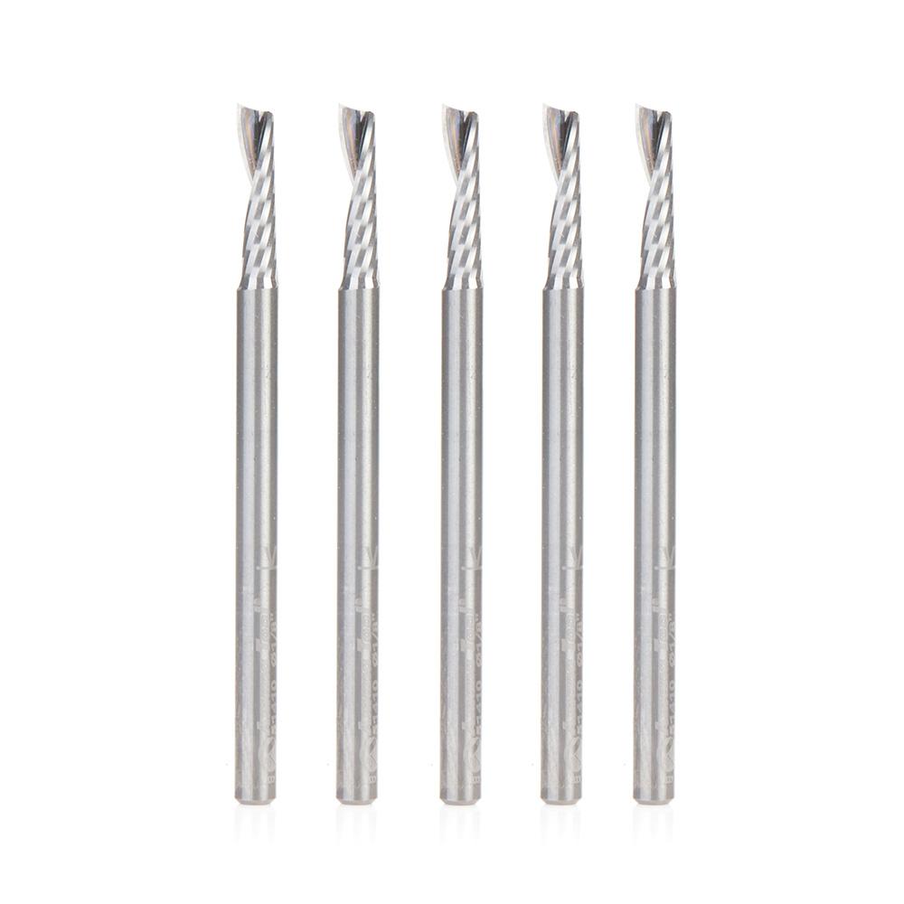 51410-5 5-Pack Solid Carbide CNC Spiral 'O' Flute, Plastic Cutting 1/8 Dia x 1/2 x 1/8 Shank Up-Cut Design Router Bit
