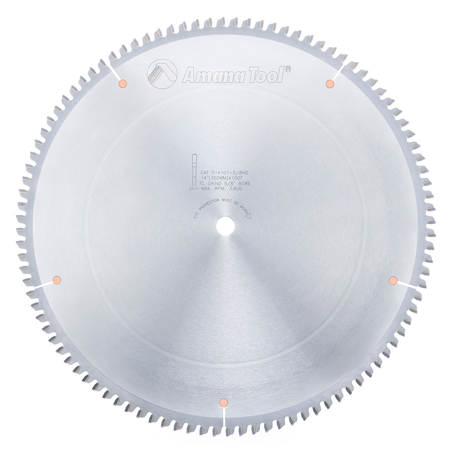 514101-5/8HD Carbide Tipped Aluminum and Non-Ferrous Metals 14 Inch Dia x 100T TCG, -6 Deg, 5/8 Bore