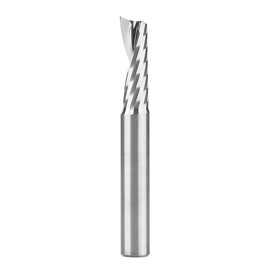 51414 Solid Carbide CNC Spiral 'O' Single Flute, Plastic Cutting 3/8 Dia x 1-1/8  x 3/8 Shank x 3 Inch Long Up-Cut Router Bit