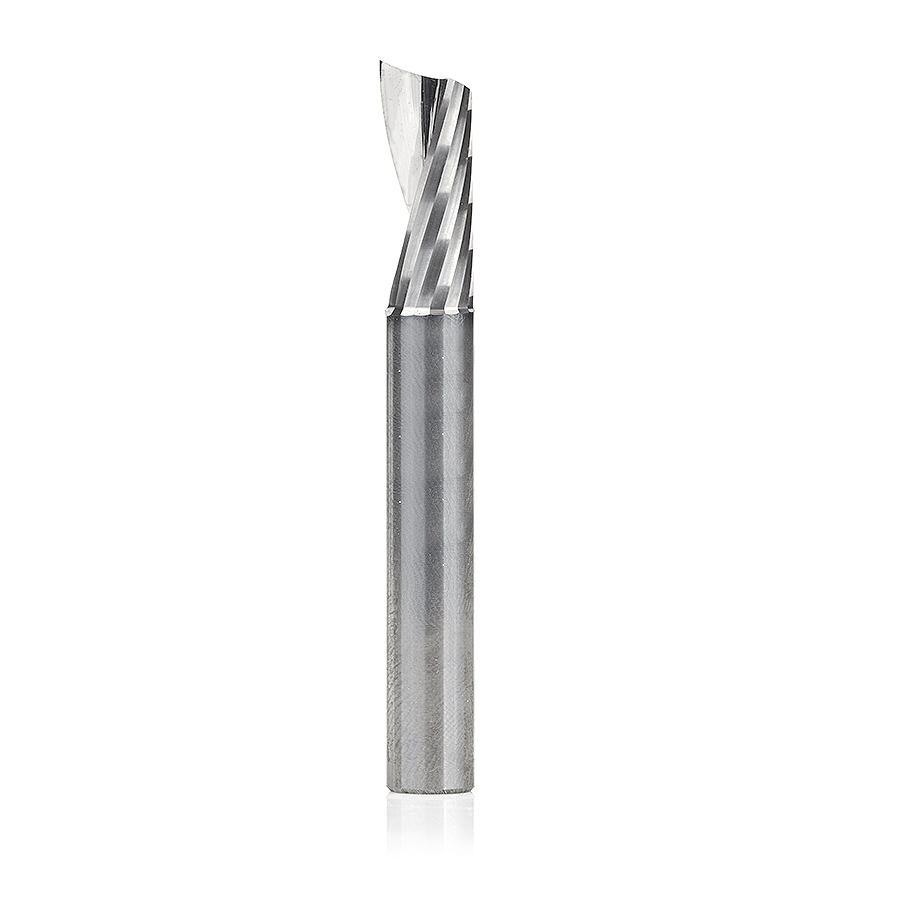 51451 Solid Carbide CNC Spiral 'O' Single Flute, Aluminum Cutting 9/32 Dia x 5/8 x 1/4 Shank x 2 Inch Long Up-Cut Router Bit with Mirror Finish