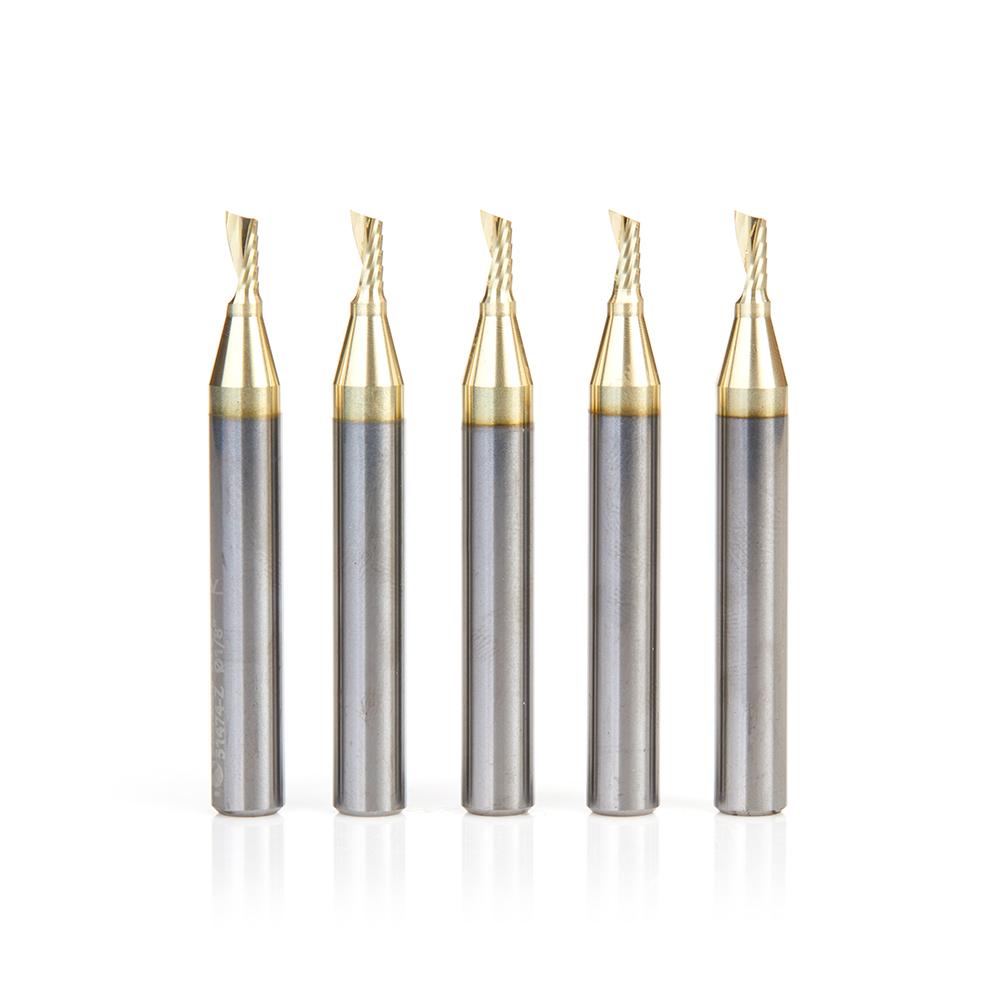 51474-Z-5 5-Pack Solid Carbide CNC Spiral 'O' Flute, Aluminum Cutting 1/8 Dia x 1/4 x 1/4 Shank Up-Cut ZrN Coated Router Bit