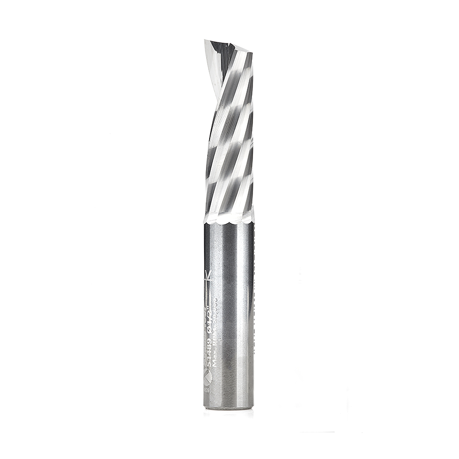51489 Solid Carbide CNC Spiral 'O' Single Flute, Aluminum Cutting 1/2 Dia x 1-5/8 x 1/2 Shank x 3-1/2 Inch Long Up-Cut Router Bit