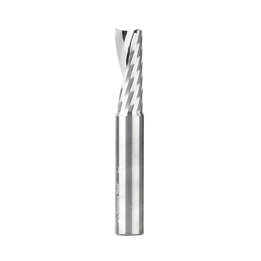 51644 Solid Carbide CNC Spiral 'O' Single Flute, Aluminum Cutting 1/2 Dia x 1-3/8 x 1/2 Shank x 3-1/2 Inch Long Up-Cut Router Bit