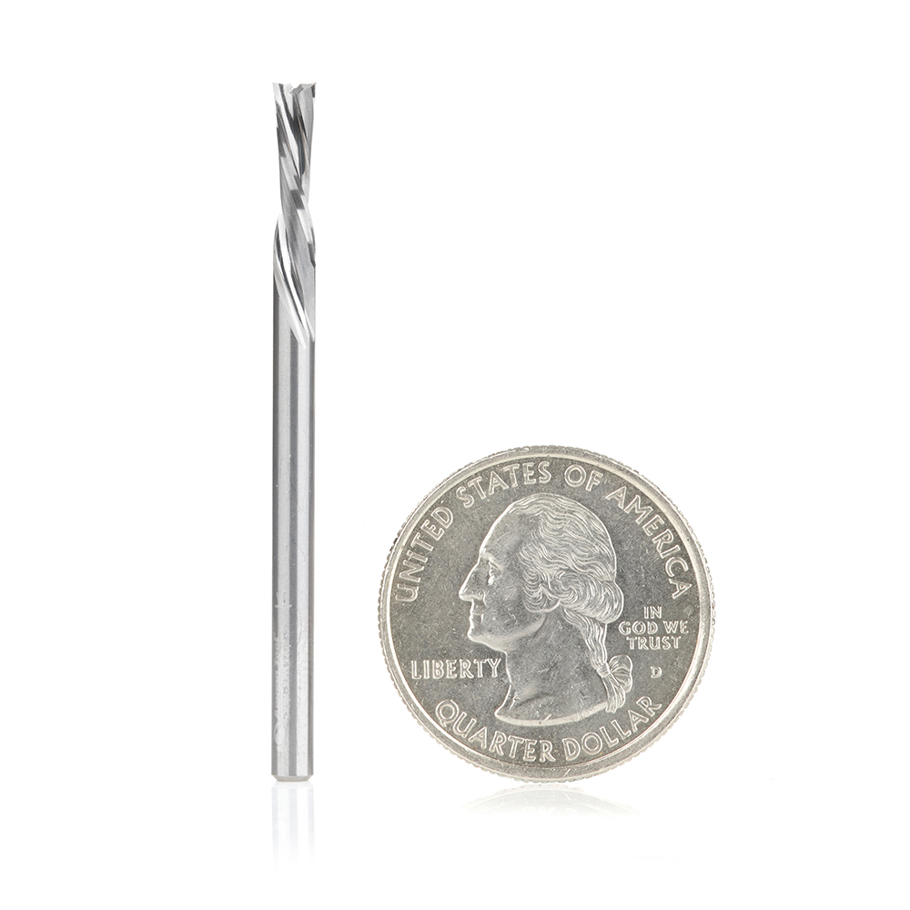 51781 Solid Carbide CNC Spiral Double 'O' Flute, Plastic Cutting 1/8 Dia x 1/2 x 1/8 Shank x 2 Inch Long Down-Cut Router Bit