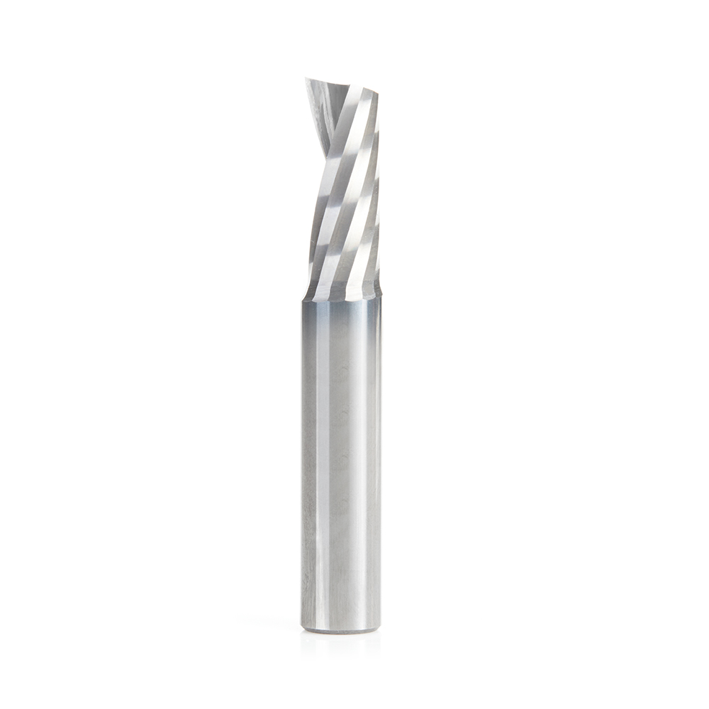 51844 Solid Carbide CNC Spiral 'O' Single Flute, Aluminum Cutting 3/8 Dia x 7/8 x 3/8 Shank x 2-1/2 Inch Long Up-Cut Router Bit