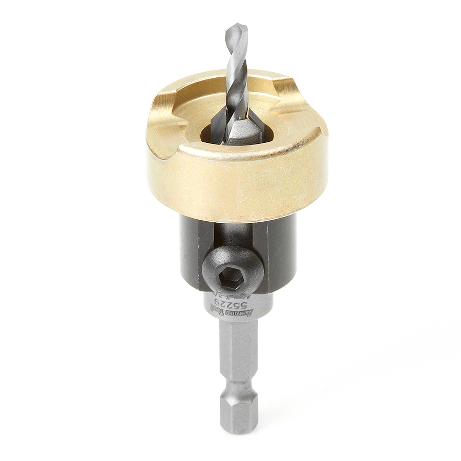 55229 Carbide Tipped 82 Degree Countersink with Adjustable Depth Stop and No-Thrust Ball Bearing, 3/8 Dia x 5/32 Drill Dia x 1/4 Inch Quick Release Hex Shank