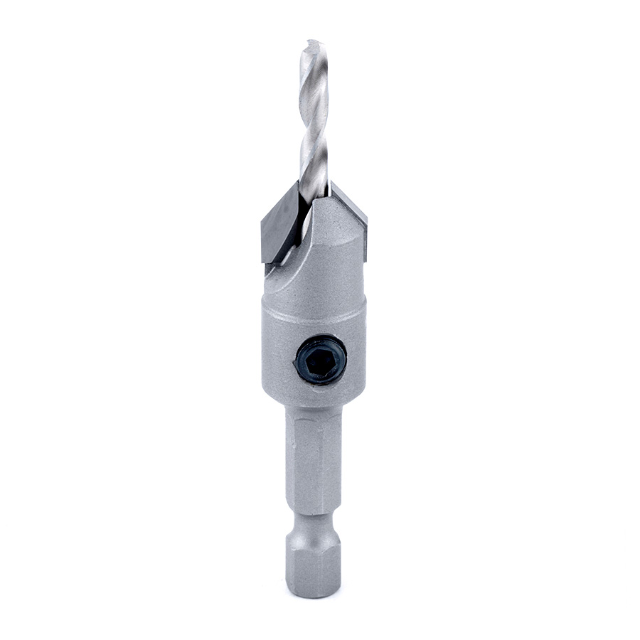 55268 Carbide Tipped 82 Degree Countersink 1/2 Dia x 49 Deg x 1/4 Quick Release Hex Shank for Wood Screw #12