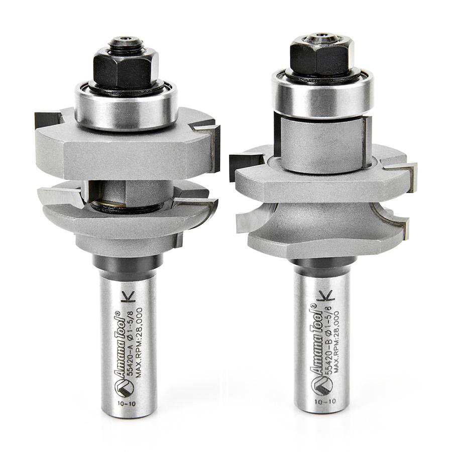 55420 Carbide Tipped 2-Piece Concave Stile and Rail 1-5/8 Dia x 1-1/16 x 1/4 Radius x 1/2 Inch Shank Set