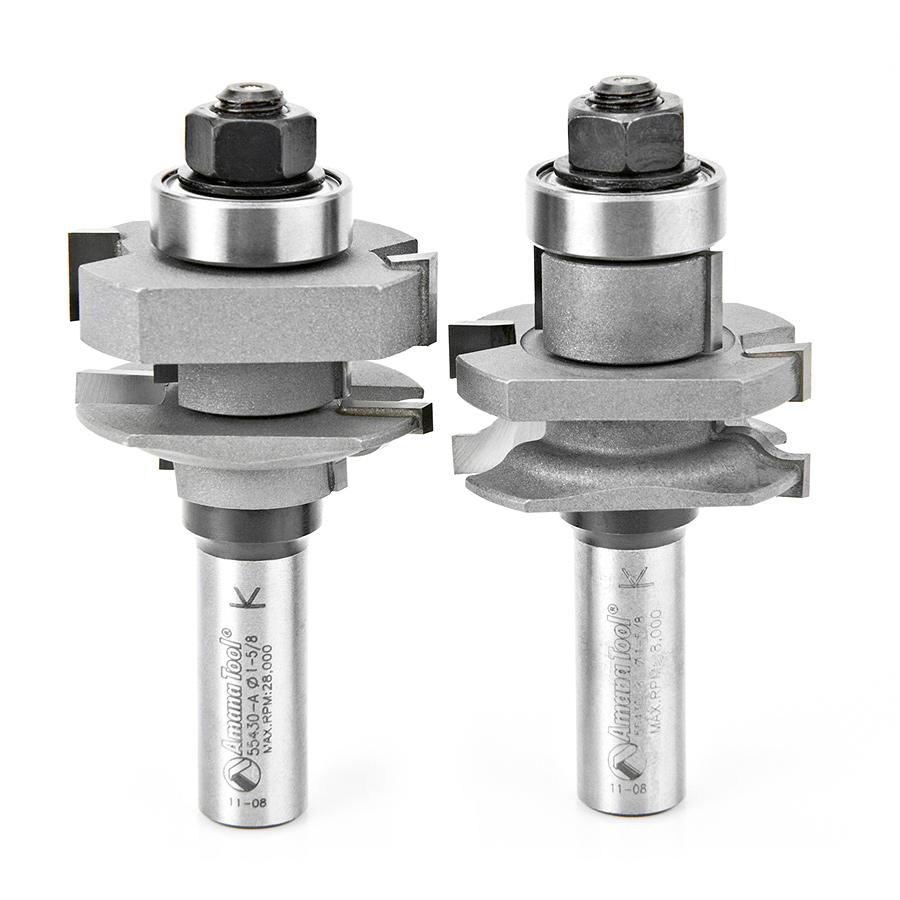 55430 Carbide Tipped 2-Piece Ogee Stile and Rail 1-5/8 Dia x 1-1/16 x 1/4 Radius x 1/2 Inch Shank Set