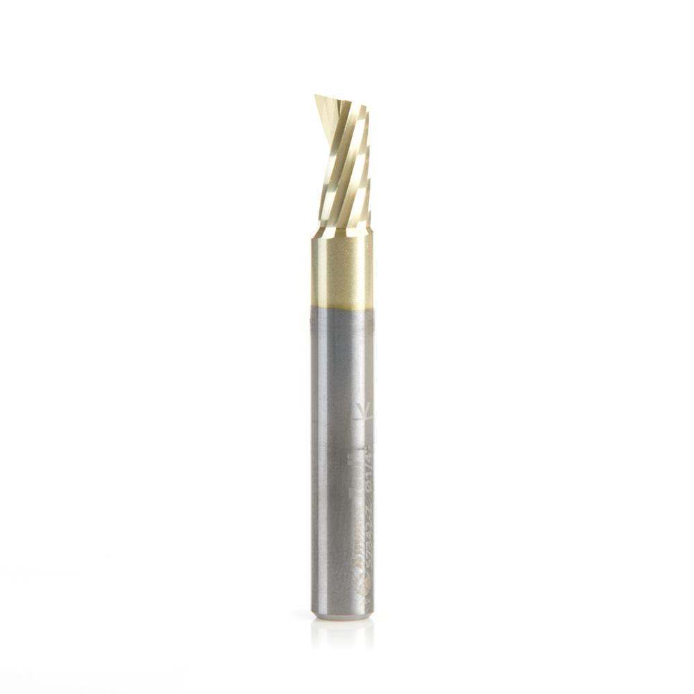 57342-Z Solid Carbide CNC Spiral 'O' Flute, Aluminum Cutting for Improved Surface Finish 1/4 Dia x 1/2 x 1/4 Shank Up-Cut ZrN Coated Router Bit