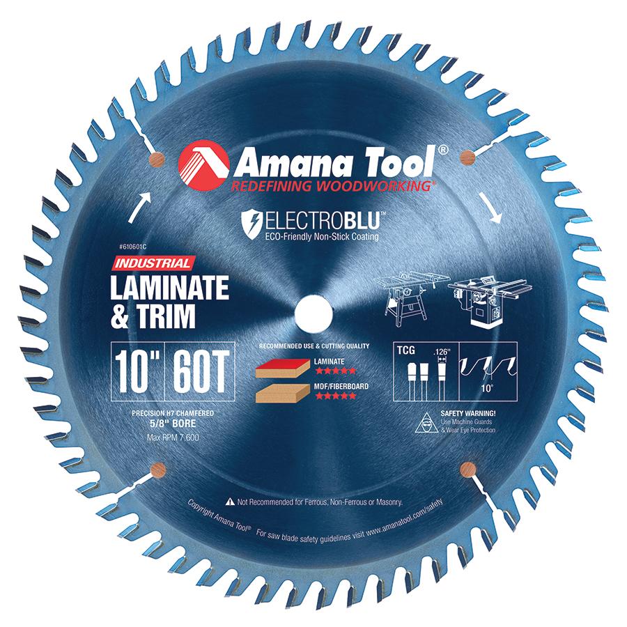 610601C Electro-Blu™ Carbide Tipped Heavy Duty General Purpose 10 Inch Dia x 60T TCG, 10 Deg, 5/8 Bore, Non-Stick Coated