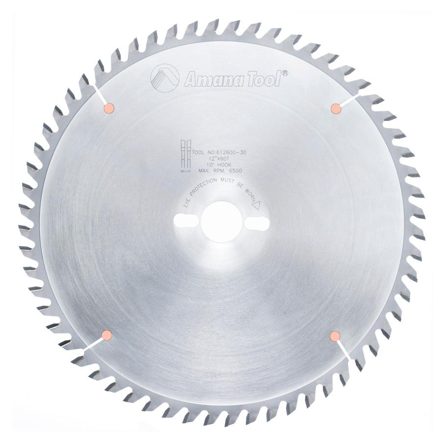 612600-30 Carbide Tipped Cut-Off and Crosscut 12 Inch Dia x 60T ATB, 10 Deg, 30mm Bore