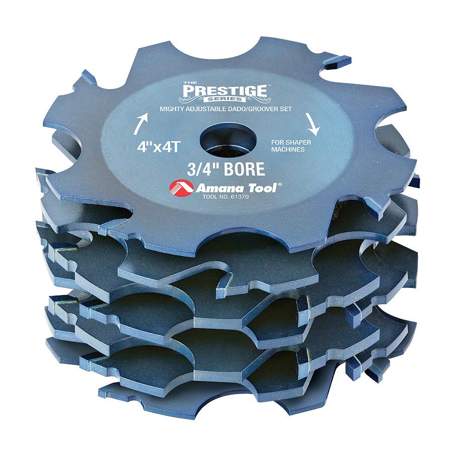 61370 Prestige Carbide Tipped Super Fine Dado/Groover 4 Dia x ATB Grind x 4 Teeth x -10 Deg Hook Angle x 1/4 to 1 Kerf x 3/4 Bore for Shaper Machines
