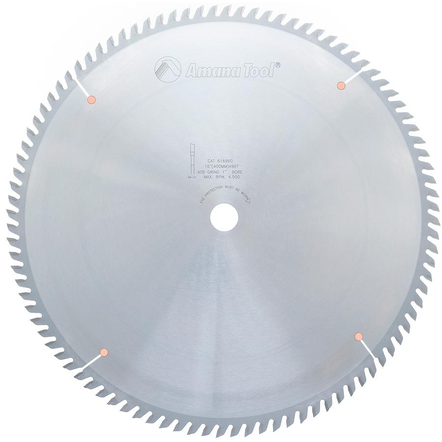 616960 Carbide Tipped Cut-Off and Crosscut 16 Inch Dia x 96T ATB, 10 Deg, 1 Inch Bore