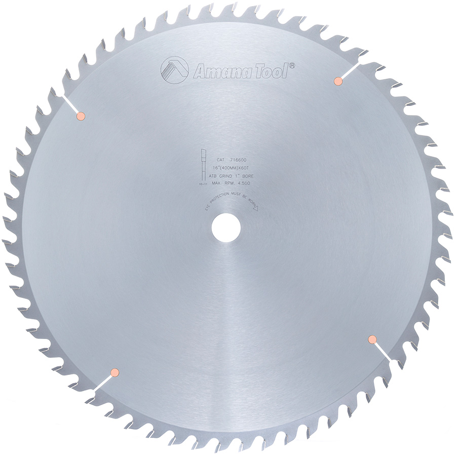 716600 Carbide Tipped Heavy Duty Cut-Off and Crosscut 16 Inch Dia x 60T ATB, 10 Deg, 1 Inch Bore