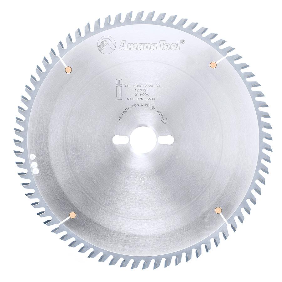 DT12720-30 Carbide Tipped Sliding Table Saw 12 Inch Dia x 72T ATB, 10 Deg, 30mm Bore