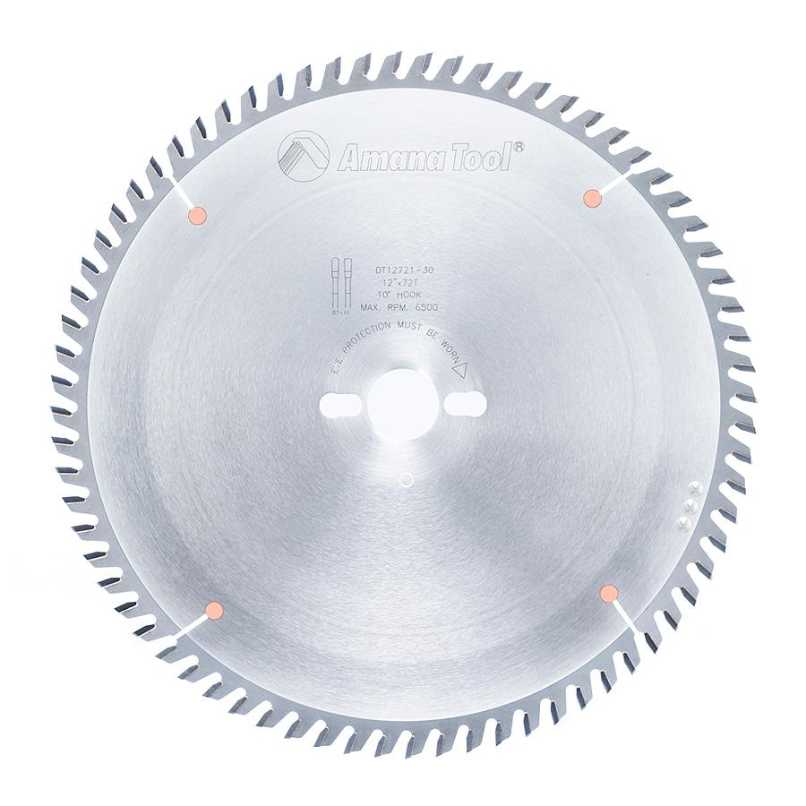 DT12721-30 Carbide Tipped Sliding Table Saw 12 Inch Dia x 72T TCG, 10 Deg, 30mm Bore