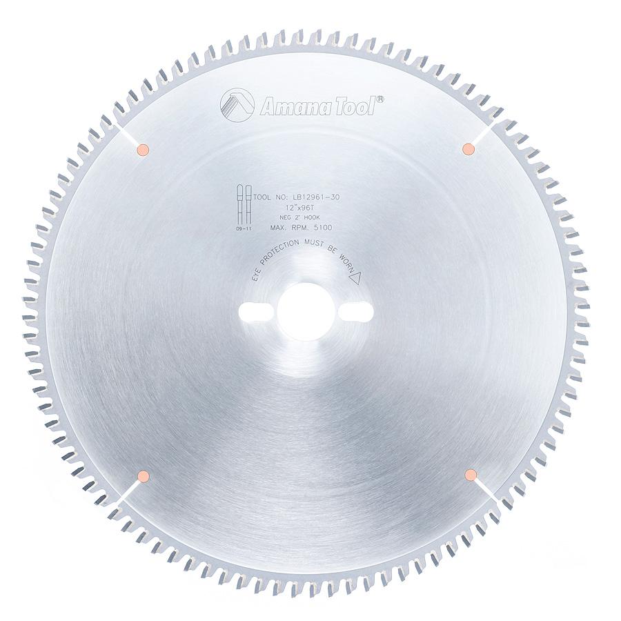 LB12961-30 Carbide Tipped Non-Melt Plastic 12 Inch Dia x 96T M-TCG, -2 Deg, 30mm Bore