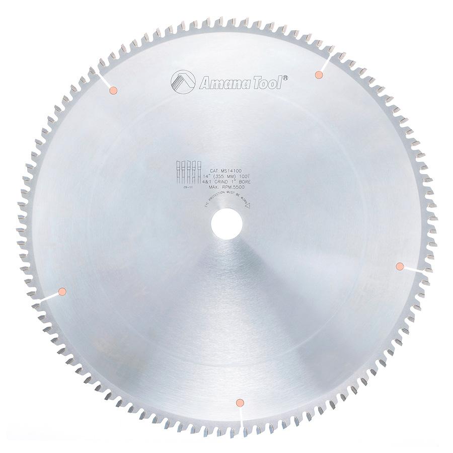 MS14100 Carbide Tipped Miter 14 Inch Dia x 100T 4+1 ATB, -2 Deg, 1 Inch Bore