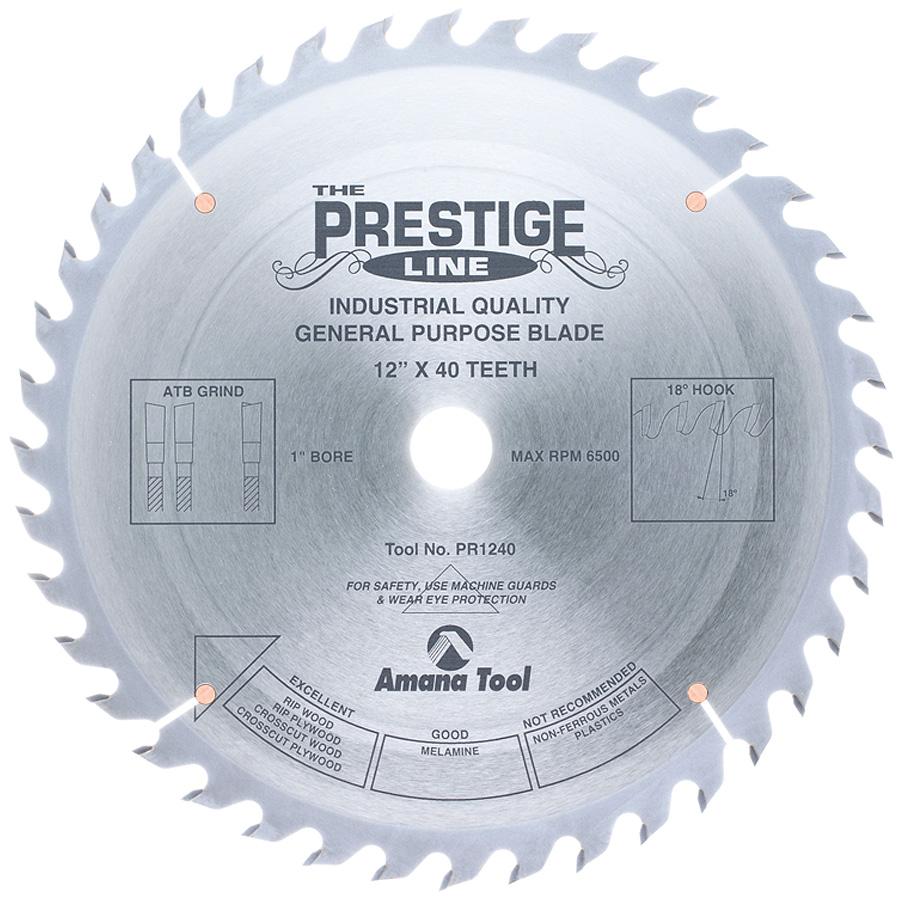PR1240 Carbide Tipped Prestige General Purpose 12 Inch Dia 40T ATB, 18 Deg, 1 Inch Bore