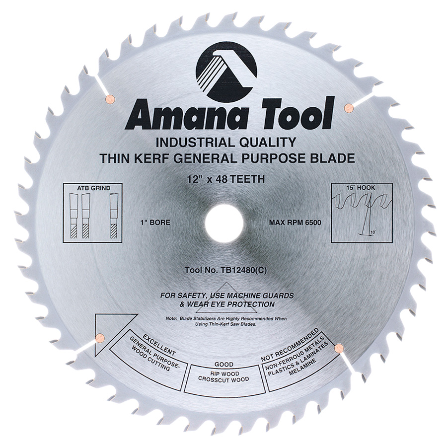 TB12480 Carbide Tipped Thin Kerf General Purpose 12 Inch Dia x 48T ATB, 15 Deg, 1 Inch Bore