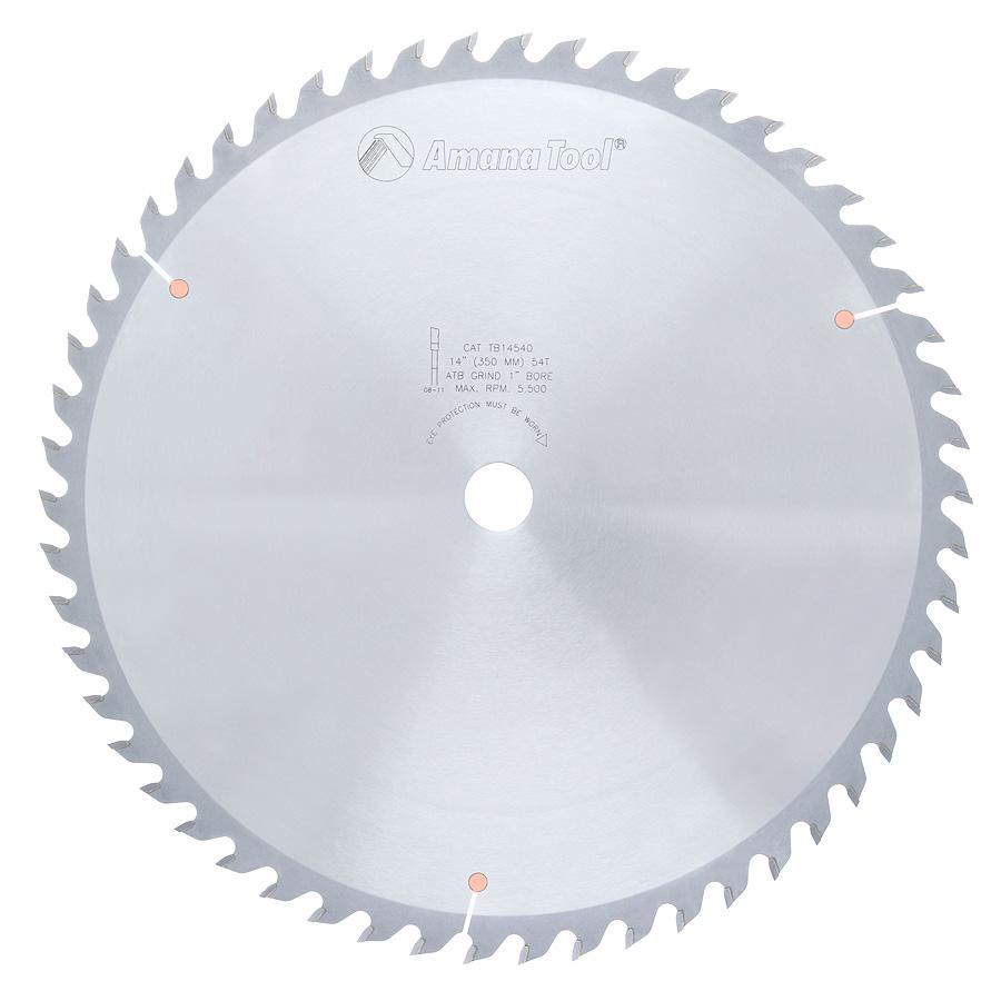 TB14540 Carbide Tipped Thin Kerf General Purpose 14 Inch Dia x 54T ATB, 15 Deg, 1 Inch Bore