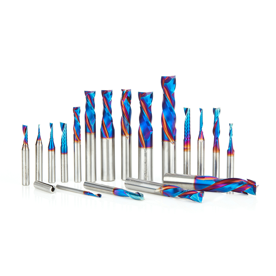 AMS-190-K 18-Pc Spektra™ Extreme Tool Life Coated Solid Carbide Compression Spiral, Plastic Cutting Spiral 'O' Flute and Spiral Plunge Router Bit Collection