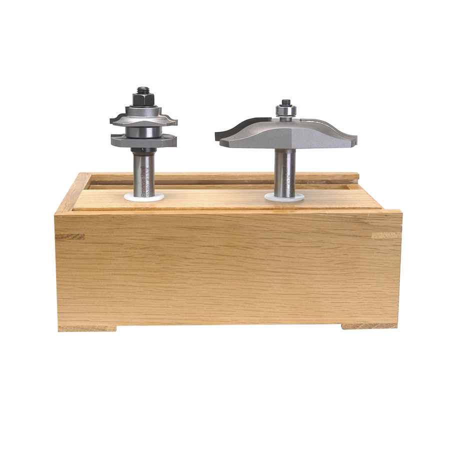 AMS-203 Carbide Tipped 2-Piece Reversible Ogee Stile and Rail Ogee Raised Panel 1/2 Inch Shank Set