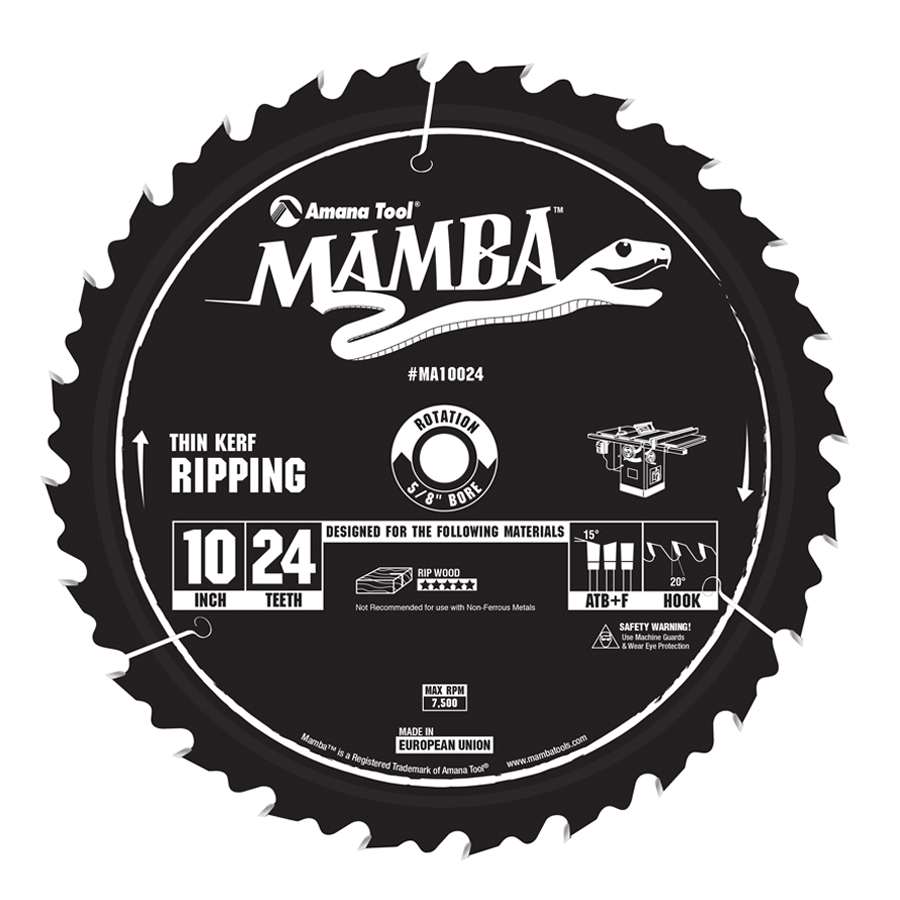 MA10024 Carbide Tipped Thin Kerf Ripping Mamba Contractor Series 10 Inch Dia x 24T, ATB+F, 20 Deg, 5/8 Bore Circular Saw Blade