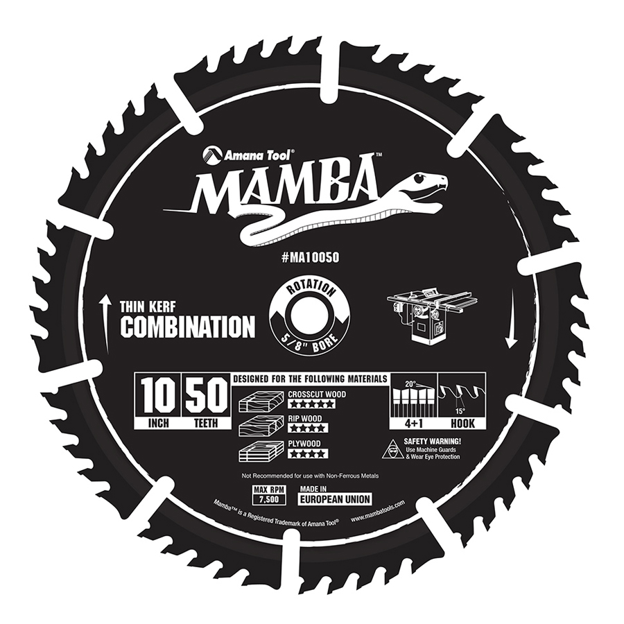 MA10050 Carbide Tipped Thin Kerf Combination Mamba Contractor Series 10 Inch Dia x 50T, 4+1, 15 Deg, 5/8 Bore Circular Saw Blade