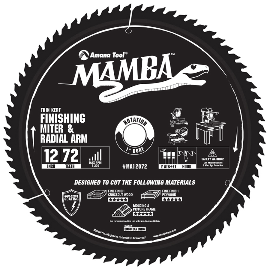MA12072 Carbide Tipped Thin Kerf Finishing Compound Miter Mamba Contractor Series 12 Inch Dia x 72T, ATB+F, 8 Deg, 1 Bore Circular Saw Blade