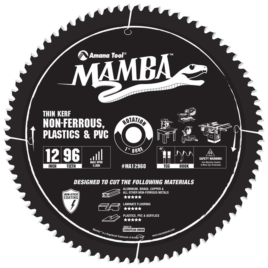 MA12960 Carbide Tipped Thin Kerf Laminate Flooring, Non-Ferrous, Plastic & PVC Cutting Contractor Series Mamba 12 Inch Dia x 96T, TCG, -6 Deg, 1 Bore